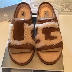 Brand new, never worn,  peep toe UGG slides
